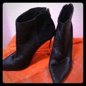Sam Edelman Black Cowhide Gold spike heel boots